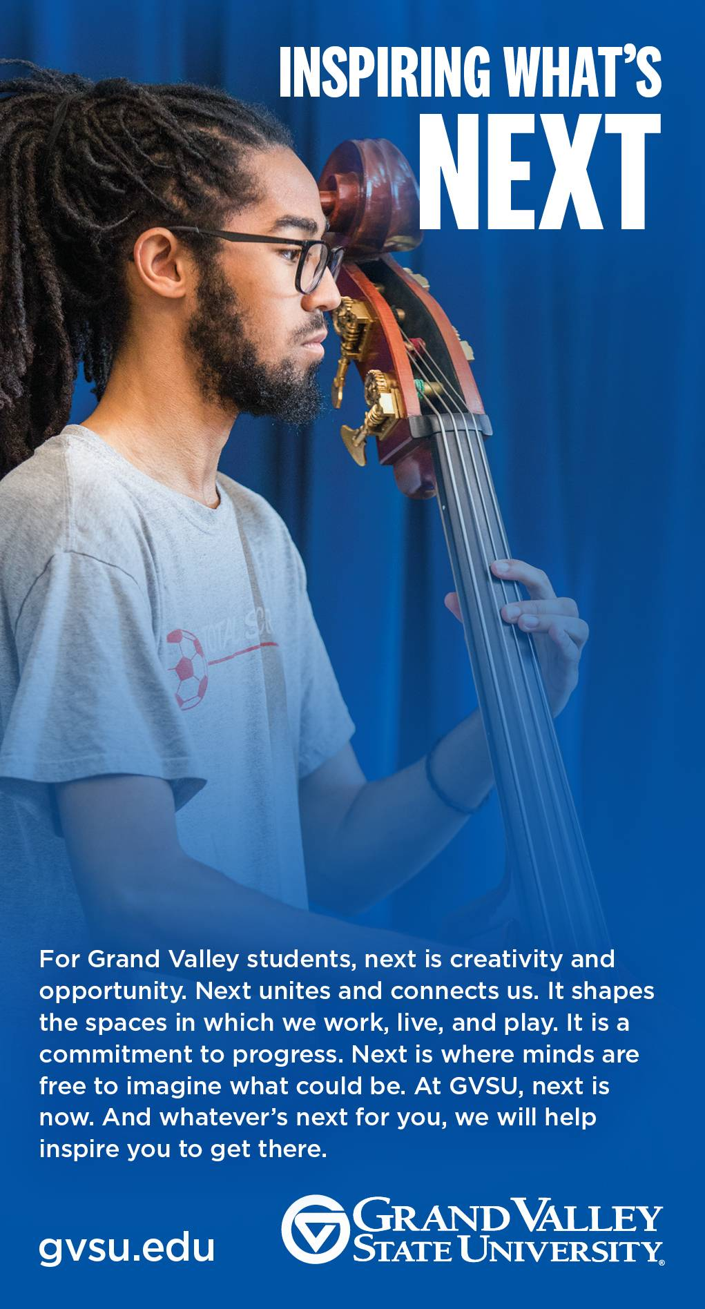 Advertisement example featuring student playing upright bass
